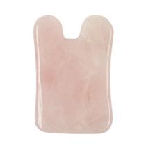 Скребок гуаша для массажа лица розовый кварц ушки