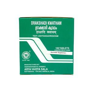 Дракшади кватам, Арья Вайдья Шала (Drakshadi, Arya Vaidya Sala), 100 табл